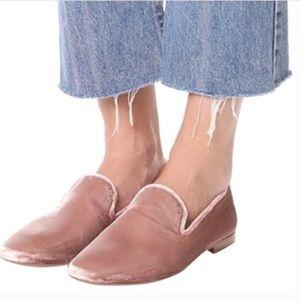 Vince Bray Velvet Slip On Loafers Pink New